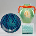 Ceramic group three pieces henry dreyfuss for the plaza hotel plate twohandled vase and lidded box early 20th c all marked 10 x 8 12