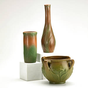 Van briggle three pieces in mountain crag glaze vase with leaves vase with leaves and flowers and jardiniere with flowers and leaves colorado springs co 191928 marked aa van briggle colo spg