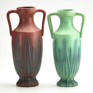 Van briggle two handled urns with yucca leaves colorado springs co 192428 marked aa van briggle colo spgs and aa van briggle usa 14 x 7 dia