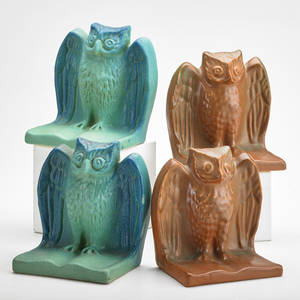 Van briggle two pair owl bookends ming blue and mountain crag glazes colorado springs co 1910s all marked aa each 5 14 x 5 14 x 3 14