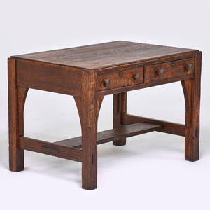 Limbert twodrawer library table with inset top grand rapids mi ca 1910 quartersawn oak branded mark 29 12 x 42 x 28