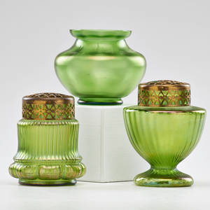 Art glass group three pieces two vases with metal flower frogs and similar vase early 20th c unmarked tallest 5 x 4 14