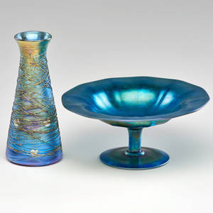 Steuben two pieces aurene glass bottle neck vase with applied threading and compote new york early 20th c one marked steuben aurene taller 7 x 3