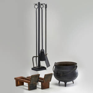 English arts and crafts fireplace tools pair of andirons and pot iron pot and tools marked made in england tools 30 14 x 7 x 2 12