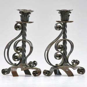 Arts and crafts pair patinated brass candlesticks early 20th c unmarked 9 x 6 x 4