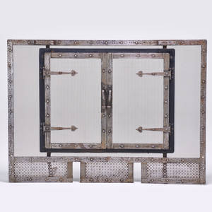 Arts and crafts fireplace screen in the style of gustav stickley usa ca 1915 iron steel mesh unmarked 38 x 52