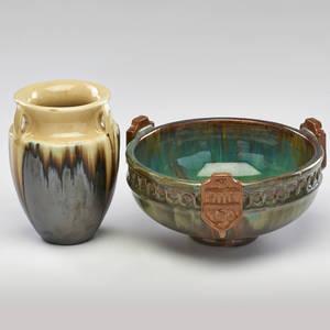 Fulper vase with drip glaze and footed bowl flemington nj 1920s glazed earthenware inkstamp racetrack marked taller 6 34 x 5