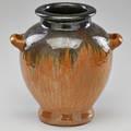 Fulper twohandled hammered urn with cats eye and gunmetal drip glaze flemington nj 1920s glazed earthenware ink stamped racetrack mark 12 x 12