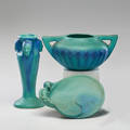Van briggle three pieces in ming blue glaze indian head vase stylized flower bowl and mermaid dish colorado springs co 192830s all marked