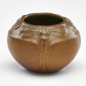 Van briggle cabinet vase with dragonflies in mountain crag glaze colorado springs co ca 1915 marked 3 x 4 14