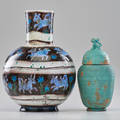 Keramos karlsruhe lidded vessel and decorated vase austriagermany early 20th c both marked taller 15 12 x 8