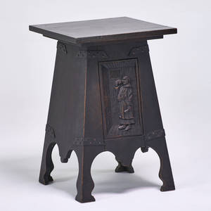 Arts and crafts fliptop cellarette with chipcarved door depicting a monk usa ca 1910 quartersawn oak patinated iron hardware unmarked 30 x 20 sq