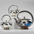 Art deco silverplated tea set teapot creamer and sugar canada 1930s meriden britannia co mark to all teapot 8 x 8 12