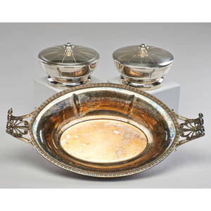 French pair art deco lidded bowls and art nouveau serving dish silverplate serving dish marked 3 12 x 17 14 x 9 34