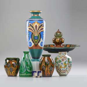 Gouda etc six vases two in yellow pattern small geometric marked plazuidgouda two gozdewaagengouda and similar palmet arnhem together with rozenberg inkwell holland ca 18931928 all mar