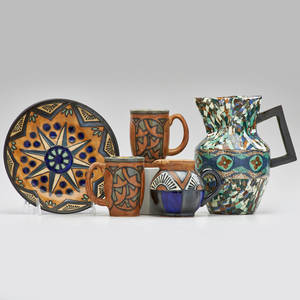 Yvan koenig mosaique gerbino etc mosaic pitcher with odetta quimper plate creamer and two mugs france 1930s all marked gerbino 7 34 x 6 14