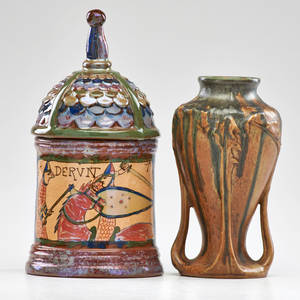 Louisetienne desmant denbac desmant lidded vessel with denbac vase france early 20th c both marked desmant 11 x 5 14