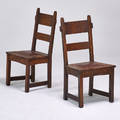 Gustav stickley pair of rabbitear side chairs no 1291 eastwood ny ca 1910 oak leather brass tacks unmarked 35 12 x 18 34 x 19