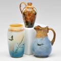 Joseph hirschfield martin rettig rookwood three early pieces dragonfly jug by hirschfield swallow pitcher by rettig and butterfly bisque vase cincinnati oh 1883 all marked and dated r