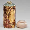 Rookwood arcenceil inkwell and vase in lustre glaze cincinnatizanesville oh 192040s both marked vase 10 12 x 4 34