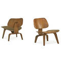 charles eames 1907  1978 ray eames 1912  1988 evans products pair of preproduction lcws detroit mi 1940s walnutveneered plywood rubber aluminum unmarked 25 12 x 22 14 x 25