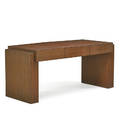 karl springer 1931  1991 karl springer inc desk new york 1980s printed leather lacquered wood unmarked 29 12 x 66 x 30