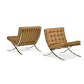 ludwig mies van der rohe 1886  1969 knoll international pair of barcelona chairs and table new york 1960s stainless steel leather glass manufacturer labels and stamped frames chairs 3
