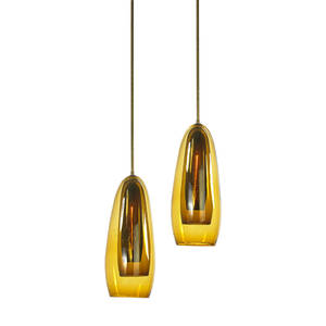 italian pair of pendant lamps 1950s brass amber glass single sockets unmarked to ceiling cap 58 x 9 dia glass only 22 12 x 9