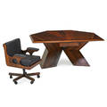 don shoemaker diamond desk and armchair mexico 1960s rosewood wood leather hecho en mexico label desk 30 12 x 69 x 50 chair 34 x 24 x 28