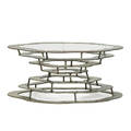 silas seandel b 1937 volcano coffee table new york 1970s textured bronzed steel brushed steel glass unmarked 16 x 38 dia provenance original owner