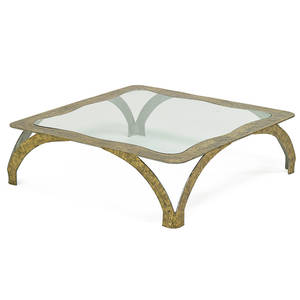 silas seandel b 1937 large coffee table new york 1970s textured bronzed steel glass unmarked 15 x 52 12 sq provenance original owner