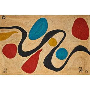 after alexander calder bon art jute fiber wall hanging turquoise nicaragua 1975 embroidered copyright mark 87100 ca 75 cloth tag 56 x 84
