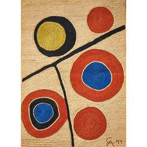 after alexander calder 18981976 bon art jute fiber wall hanging floating circles nicaragua 1974 embroidered ca 74 with cloth tag 6 x 4