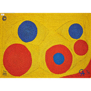 after alexander calder 18981976 bon art maguey fiber wall hanging sun guatemala 1974 embroidered ca 74 74100 with copyright mark and cloth tag 4 x 6