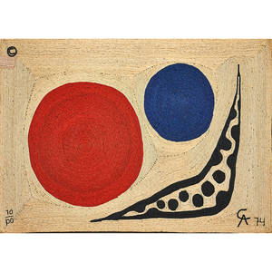 after alexander calder 18981976 bon art maguey fiber wall hanging moon guatemala 1974 embroidered ca 74 70100 with copyright mark and paper tag 5 x 7