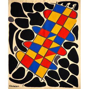 after alexander calder atelier pinton wallhanging wool tapestry no 31 du noir autour de couleurs aubusson france 1960s woven calder pf 16 cloth label to back 66 12 x 45