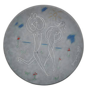 jean cocteau 1889  1963 atelier madeline jolly glazed ceramic plate couple aux cymbales france 1958 signed edition originale de jean cocteau atelier madeline jolly 1550 1 34 x 10