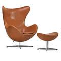 arne jacobsen 1902  1971 fritz hansen egg chair and ottoman denmark 1980s leather aluminum foil label chair 42 x 36 12 x 32 ottoman 17 x 22 x 16