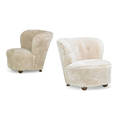 flemming lassen 1902  1984 attr pair of lounge chairs denmark 1940s lambswool canvas wood unmarked 28 x 30 x 32