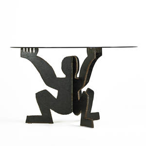 maurizio cattelan b 1960 cerberino table italy des 1989 torchcut welded and patinated steel glass unmarked 29 x 48 dia base 29 x 40