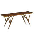 ico parisi 1916  1996 luisa parisi 1914  1990 singer  sons console table no 1109 italy 1950s sculpted walnut walnut burl brass manufacturer label 30 x 71 x 19 34 proven