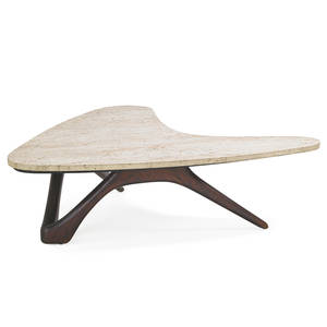 vladimir kagan b 1927 kagandreyfuss boomerang coffee table new york 1950s sculpted walnut travertine unmarked 14 x 51 x 43 12 note authenticated by vladimir kagan
