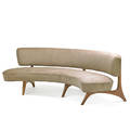 vladimir kagan b 1927 kagandreyfuss floating seat and back sofa no 176sc new york des 1952 sculpted oak ultrasuede unmarked 31 x 88 x 34 note authenticated by vladimir kaga
