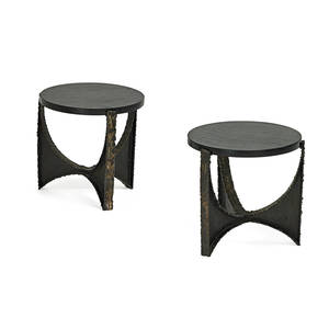 paul evans 1931  1987 paul evans studio pair of side tables new hope pa 1970s welded patinated and polychromed steel slate unmarked 15 12 x 16 dia
