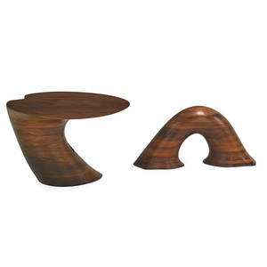 wendell castle b 1932 twopart sculptural coffee table scottsville ny 1969 laminated and carved walnut both parts signed wc 69 20 x 30 x 31 16 x 34 x 13 provenance estate
