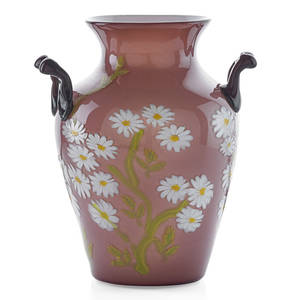 Fratelli toso floreali glass vase with daisies murano ca 1910 unmarked 9 34 x 8