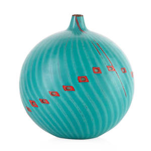Yoichi ohira b 1946 catena vase murano 1998 blown glass canes murrine and powder inserts ground surface executed by maestro livio serena etched yoichi ohira  mo l serena 11 unico 1921