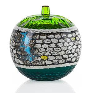 Yoichi ohira b 1946 le luci sommerse vase murano 2000 blown glass powder inserts partial battuto surface executed by maestro livio serena and maestro giacomo barbini etched per odetto yoich