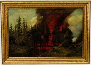Forest Fire Oil on Canvas Signed