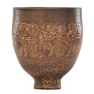 Edwin scheier 1910  2008 mary scheier 1908  2007 footed bowl with figures green valley az 1993 signed and dated 10 x 8 12 provenance the estate of edwin and mary scheier sold by the